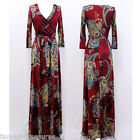 RUBY Red BOHO Paisley MAXI DRESS Jersey FAUX WRAP Long Skirt CRUISE Travel S M L