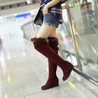 Womens Wedge Heel Platform Fur Furry Candy Girl Retro Over Knee Boots Cute Shoes