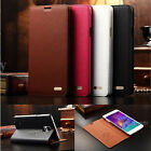 Luxury 100% Genuine Leather Flip Stand Cover Case For Samsung Galaxy Note 4 New