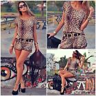 Sexy Short Sleeve Romper Pant Leopard Playsuit Casual Overall Women Jumpsuit SH