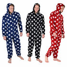 Mens Fleece All In One Onesie Pyjamas Nightwear - Stars Design - A Great Gift!