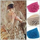 Women Girl Fashion Camellia Warm Knit Flower Crochet Headband Wide Hair Band