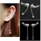 NEW Angel Wing Drop Crystal Silver Plated Earrings Dangle Ear Stud Cuff Clip