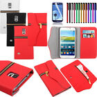 For Samsung Galaxy S5 Zipper Wallet Pouch PU Leather Flip Case Cover+Screen