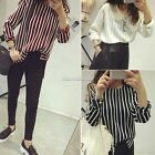 Womens Winter Stripe Knitted Pullover Loose Casual Tops Blouse Knitwear Jumper