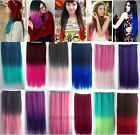 60CM Straight Hair Piece Two Tone Ombre Dip Dye Party Cosplay Clip In Extensions