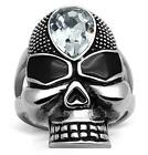Size 5 6 7 8 9 10 Skull Ring Crystal Goth Womans Ladies J L N P R T LTK1313E