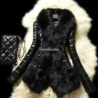 Luxurious Winter Warm Thick Women Ladies Faux fur Leather Long Coat Jacket Parka