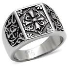 Knights Templar Stainless Steel Mens Ring Masonic LTK127E Size 8 to 13 P to Z+1