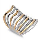 Stainless Steel Shiny Freeform Two Tone Wide 37 mm Fashion Band Ring Sizes 6-13