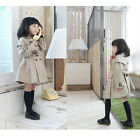 Ages 3-8 Year Kids Girl Toddler Autumn Double-breasted Trench Coat Wind Jacket U