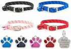 ANCOL Cat Collar Reflective Elasticated Softweave, With Engraved Paw ID Tag