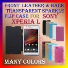 ACM-FRONT LEATHER & BACK TRANSPARENT SPARKLE FLIP CASE for SONY XPERIA L COVER