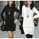 Women's Round Neck Black White Long Sleeve Stretch Bodycon Party Cocktail Dress