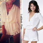 Women Plunging V Neck Cut Out Front Fitted Waist Ruffles Cuff Playsuit Rompers