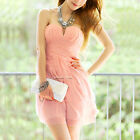 Women Sweet Peach Chiffon Strapless Stretch V Neck Pleated Skirt Bodycon Dress