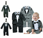 Baby Toddlers Boy Formal Wedding Tuxedo, Grey /Black Suit Bow Tie & Jacket 3-24M