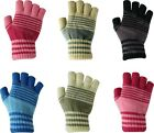 Womans Ladies Striped Stripe Thermal Fingerless Knitted Winter Warm Half Gloves