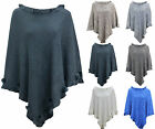 WOMENS LADIES WINTER KNITTED POM POM PONCHO TOP UK SIZE 10 12 14