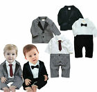 Baby Boy Formal Wedding Tuxedo Suit & Jacket Set, Bow & Tie Grey / Black 3-24M