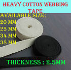 20mm 25mm 34mm 38mm Natural Beige & Black Heavy Cotton Canvas webbing tape strap