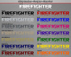 FIREFIGHTER Flame Font Flaming Windshield Decal Window Sticker Vinyl Graphic Car