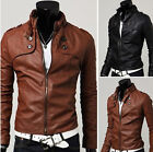 Factory price Korean Style Men Slim Fit Synthetic Leather Short Jacket Coat
