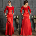 RED Vintage Mother Sexy Lace LONG Mermaid Prom Party Wedding Gown Evening Dress