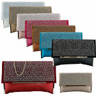 New  Studded Suede Clutch Bag Spiked Diamonte Goth Punk Vintage Designer Leather