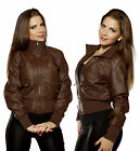 Faux LEATHER Bomber JACKET Biker Moto Funnel Neck Knit Collar Zip Up Pu Outwear