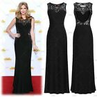 Women's Sexy Black Long Formal Cocktail Bridesmaids Gown Floral Maxi Prom Dress