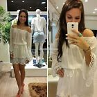 Women Off Shoulder Party Evening Casual Chiffon Lace Cocktail Tunic Mini Dress S