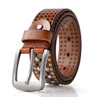 Rhinestone Woman Girl Casual Belt Genuine Cow Leather Bling Single Pin Buckle