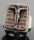 925 STERLING SILVER JESUS CRUCIFIX CROSS BIKER RING US sz 10, 11, 12