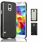 LUXURY CARBON FIBRE CHROME HARD BACK CASE COVER FOR SAMSUNG GALAXY S5 I9600