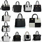 Trendy BLACK WHITE Faux Leather Smile Studs Selma Chequered Tote  Shoulder Bag