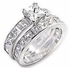 925 Silver 2 Piece Princess Cut Lab Diamonds Wedding Engagement Bridal Ring Set