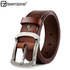 Men Genuine Leather Vintage Classic Jean Pin Roller Buckle Reversible Waist Belt