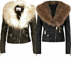 F11 WOMENS LADIES GIRLS FAUX FUR LEATHER PVC BOMBER BIKER CROPPED ZIP UP JACKET.