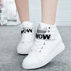 Hot Womens High Top Lace Up Ankle Boots Sport Rhinestone Sneakers Elevator Shoes
