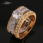 Three Rounds Cubic Zirconia Finger Ring Set 18KRGP Wedding Jewelry For Women