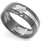Stainless Steel Elegant Lucky Love Hope Dolphin Puzzle Style Band Ring Size 8-13