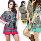 Women Summer Boho Loose Tops T-shirt Dress Plus Size Blouse Short Batwing Sleeve