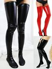 Fashion Sexy Women Faux Leather Hold Up Wet-Look Vinyl Fetish Shiny Stockings