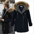 Fashion Women  Winter Hooded Long Sleeved Long Sections of Wool Coat
