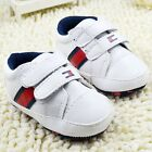 Classic Baby boy white soft soled Crib Shoes  Size 0-6 6-12 12-18 months