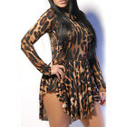 New Sexy Women Leopard Long Sleeve Evening Party Cocktail Clubwear Mini Dress