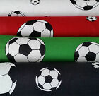 Cotton fabric, 4 colours, green, red,  football, footballs, app. 140cm wide