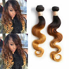 "US 100% BRAZILIAN OMBRE VIRGIN HUMAN HAIR1PCS 12""-30"" BODY WAVE 1B/33/27# HOT"