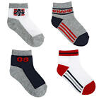 Koala Kids Boys' 4 Pack Gray/White Sporty Quarter Socks